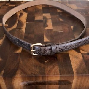 Ann Taylor Brown, Leather Belt; Croc-look